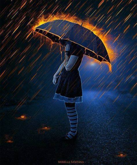 Girl standing with an umbrella in a storm with fire Artwork by Mirella Santana