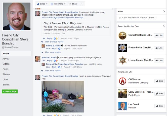 Fresno City Councilman Steve Brandau Shames Local Homeless Folks on Facebook