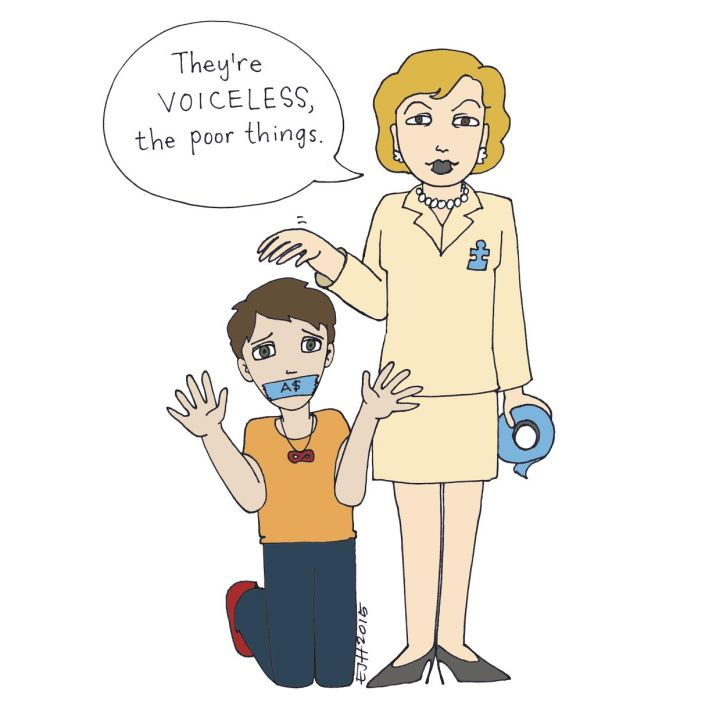 """Image is a cartoon drawing of a kneeling person wearing a red infinity symbol necklace, hands up as if gesturing for help, their mouth taped over with a piece of blue tape labeled """"A$."""" Standing beside them is a cartoon caricature of Suzanne Wright, holding a roll of blue tape, patting the kneeling autistic person's head, and wearing a blue puzzle piece pin. Her speech bubble says, """"They're VOICELESS, the poor things."""""""