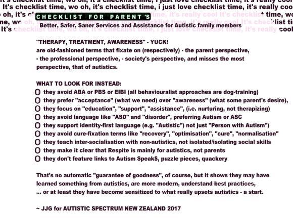 Parents of Autistics Checklist