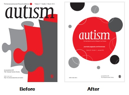 autism journal cover before after showing old puzzle piece and new circles motif
