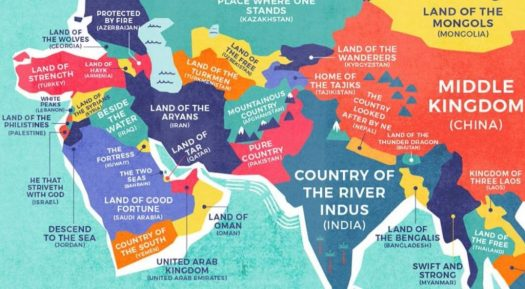 Beautifully designed map shows the literal translations of country recently we featured a world map that labels each country not with its name in english but its name in its own language gumiabroncs Images