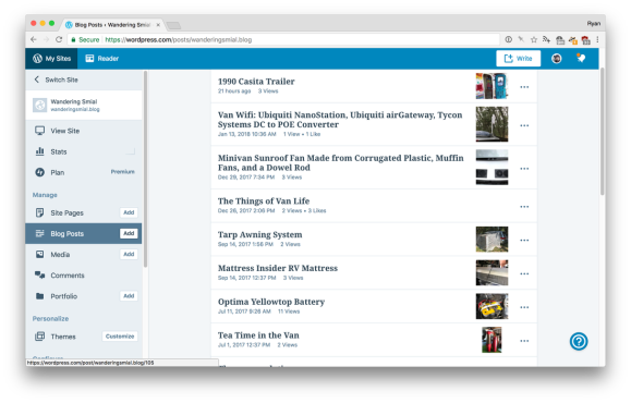 Screenshot of the WordPress.com posts list showing my latest posts. The number of views listed for each post is low, 2s and 3s.