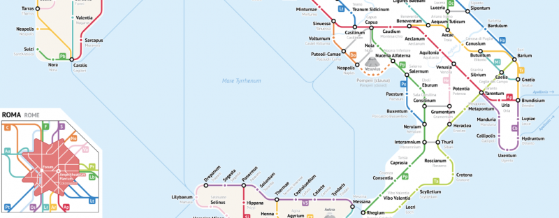 Roman Roads As A Subway Map.All The Roman Roads Of Italy Visualized As A Modern Subway Map