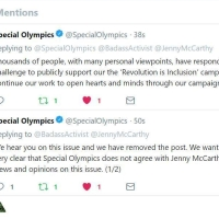 "The @SpecialOlympics Tweets Response, ""... Special Olympics Does Not Agree with @JennyMcCarthy 's Personal Views & Opinions On This Issue."""