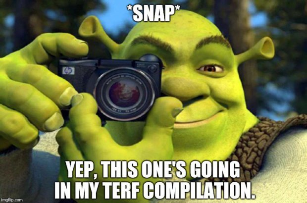"An image of shrek holding a camera with teh caption ""*snap* yep, this one's going in my terf compilation."""
