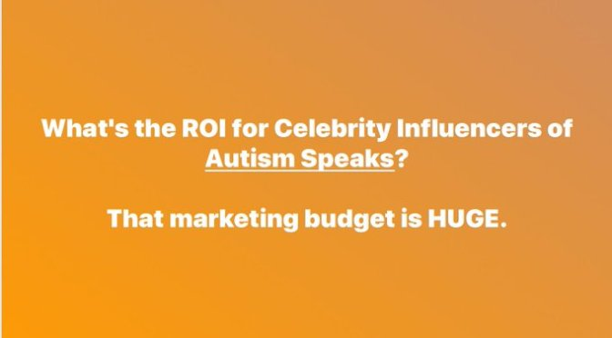 Question: What's the ROI For Celebrity Influencers for @AutismSpeaks?  That Marketing Budget is HUGE. | Eve Reiland