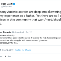 #BILLYMANNRECEIPTS | @BILLYMANN:  Def many Autistic activist are deep into skewering me and my experience as a father.