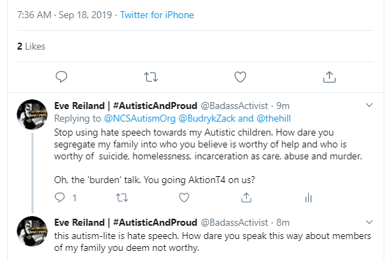 """Hate Speech By @NCSAAutismOrg To Autistics 